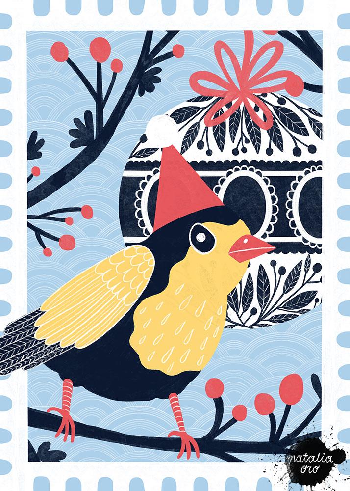 Winter Bird Greeting Card by nataliaoro