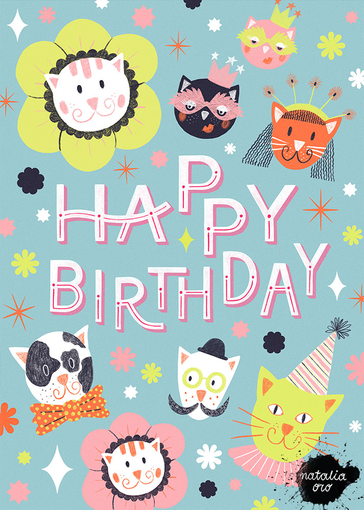 Cats B-Day Party Greeting Card by nataliaoro