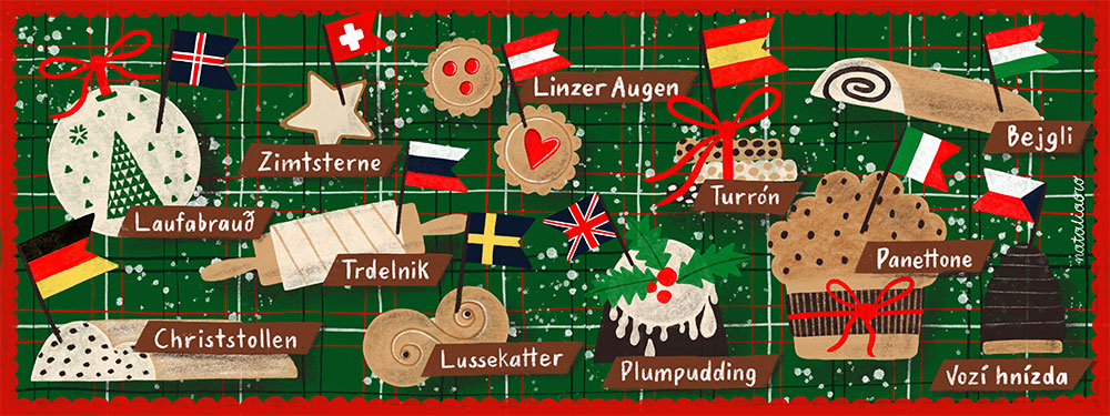 Illustrated Recipe Christmas Bakery around Europe by nataliaoro