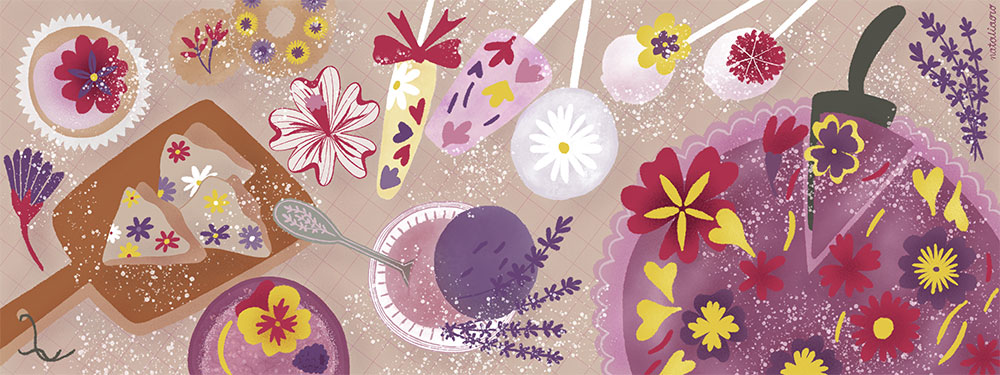 Food Illustration Edible Flowers Buffet by nataliaoro