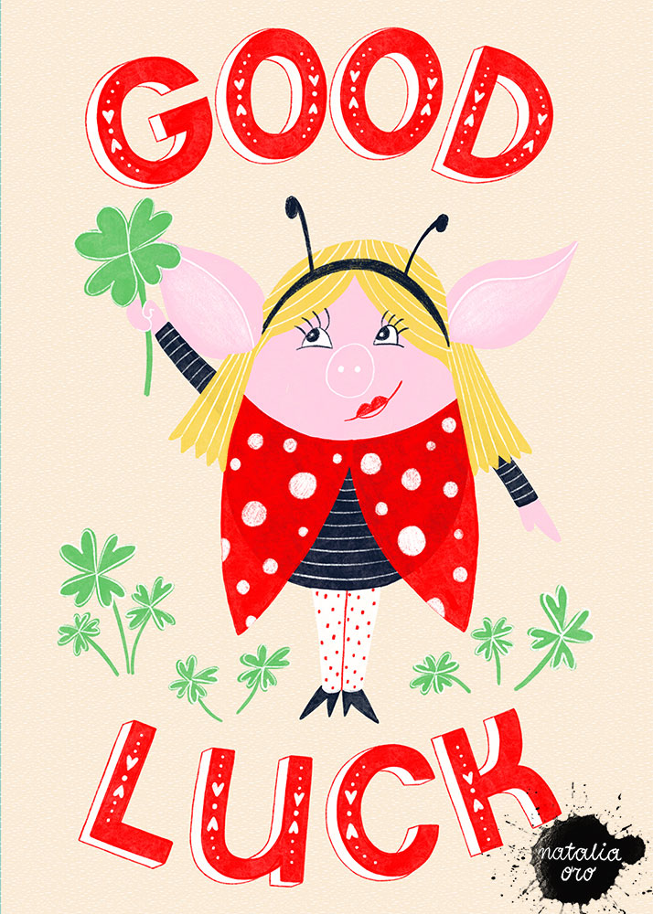 Good Luck Greeting Card by nataliaoro