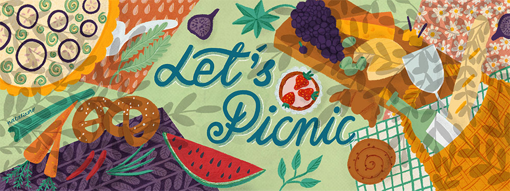 Food Illustration Let´s Picnic by nataliaoro
