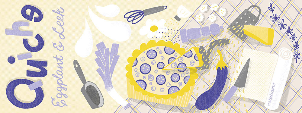 Illustrated Recipe Eggplant Quiche with Leek by nataliaoro