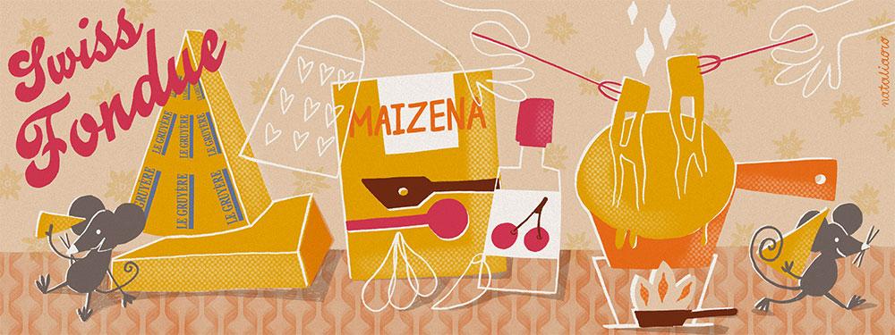 Illustrated Recipe Swiss Cheese Fondue by nataliaoro
