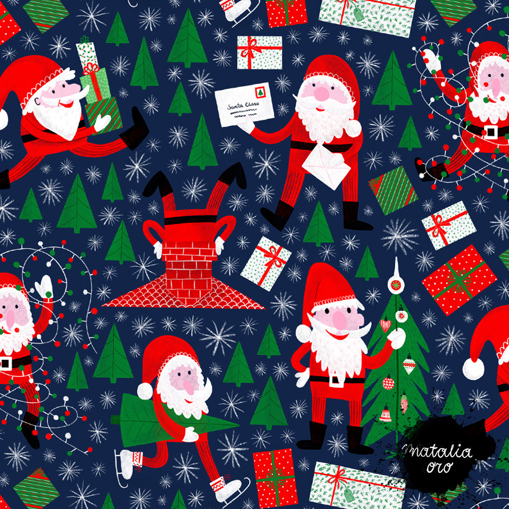 Busy Santa Claus Pattern by nataliaoro