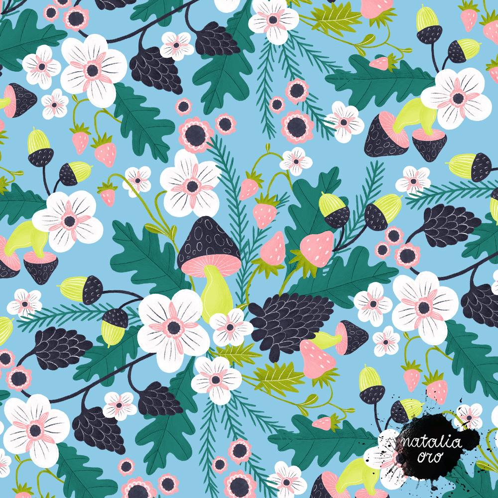 Forest Flower Field Pattern by nataliaoro