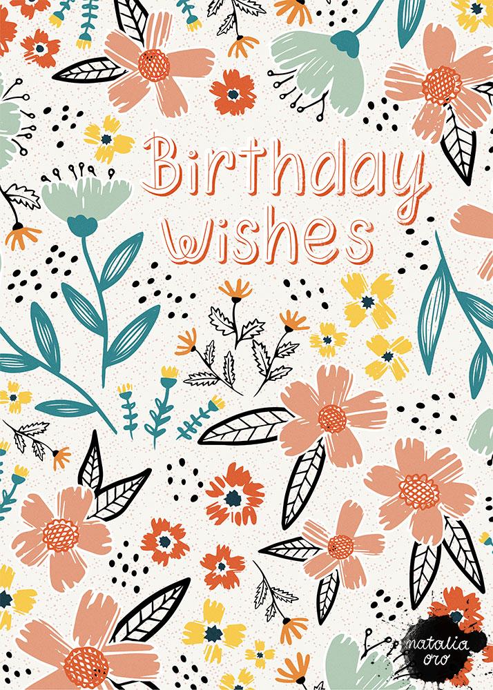 Birthday Wishes Greeting Card by nataliaoro
