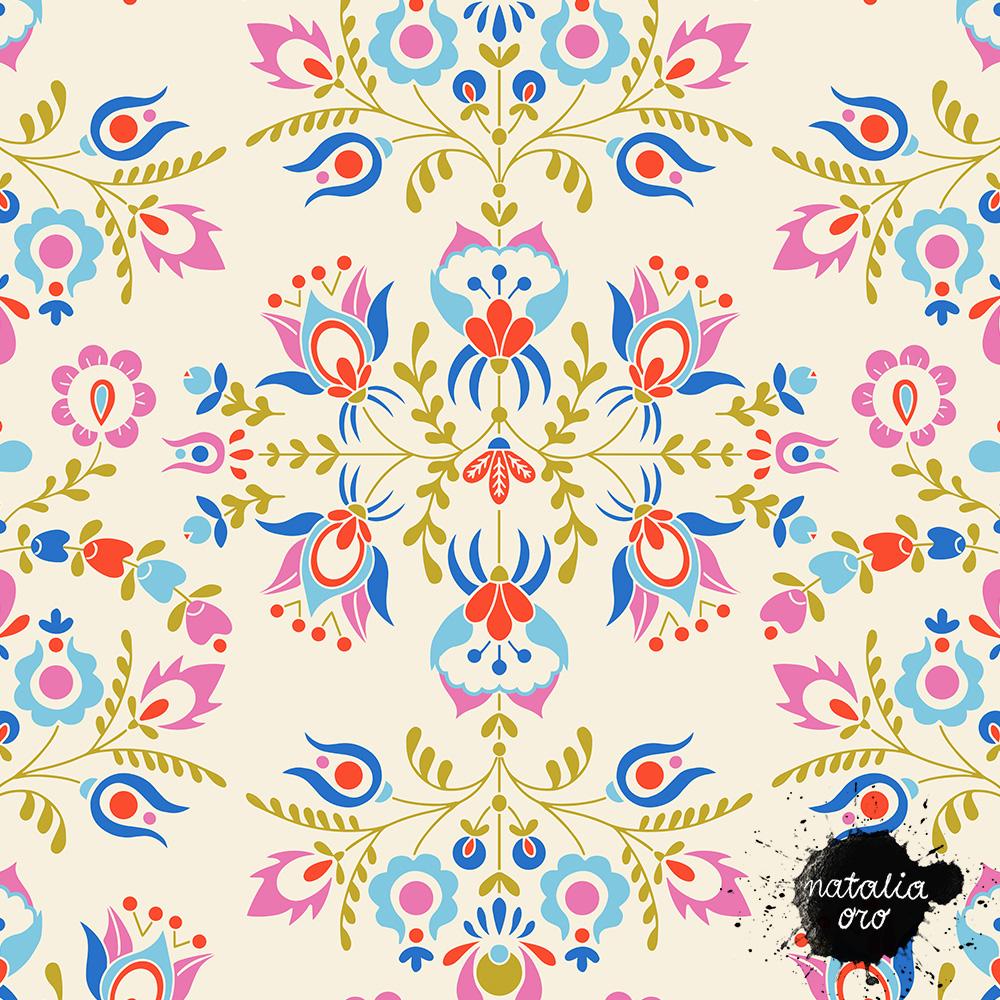 Folk Art Floral pattern by nataliaoro 2021