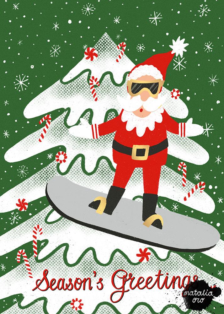 Snowboard Santa Greeting Card by nataliaoro