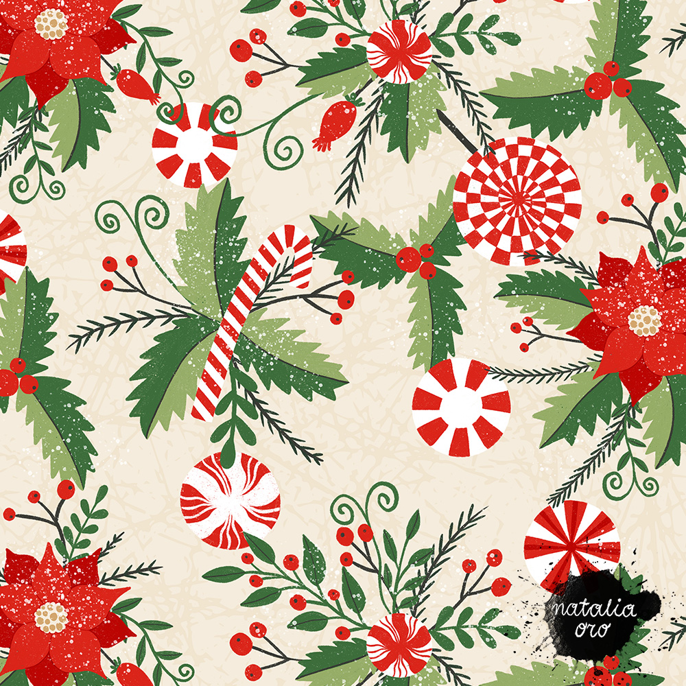 Peppermint Christmas pattern by nataliaoro