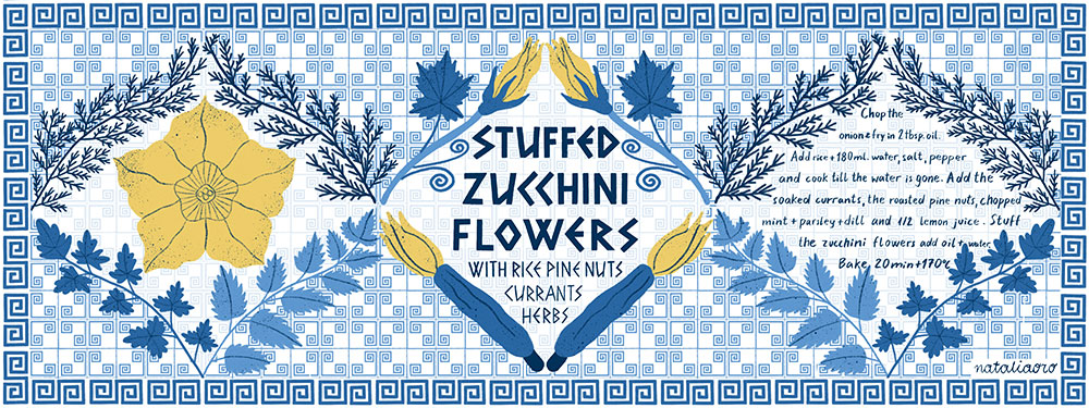 Illustrated Recipe Stuffed Zucchini Flowers by nataliaoro